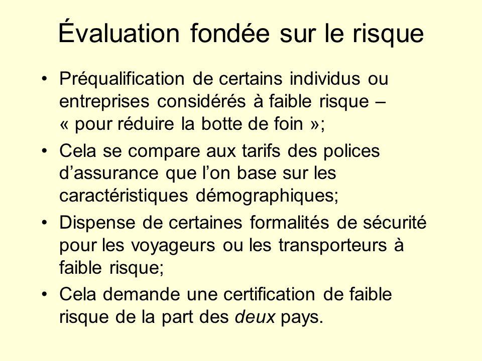 Évaluation fondée sur le risque Préqualification de certains individus ou entreprises considérés à faible risque – « pour réduire la botte de foin »;