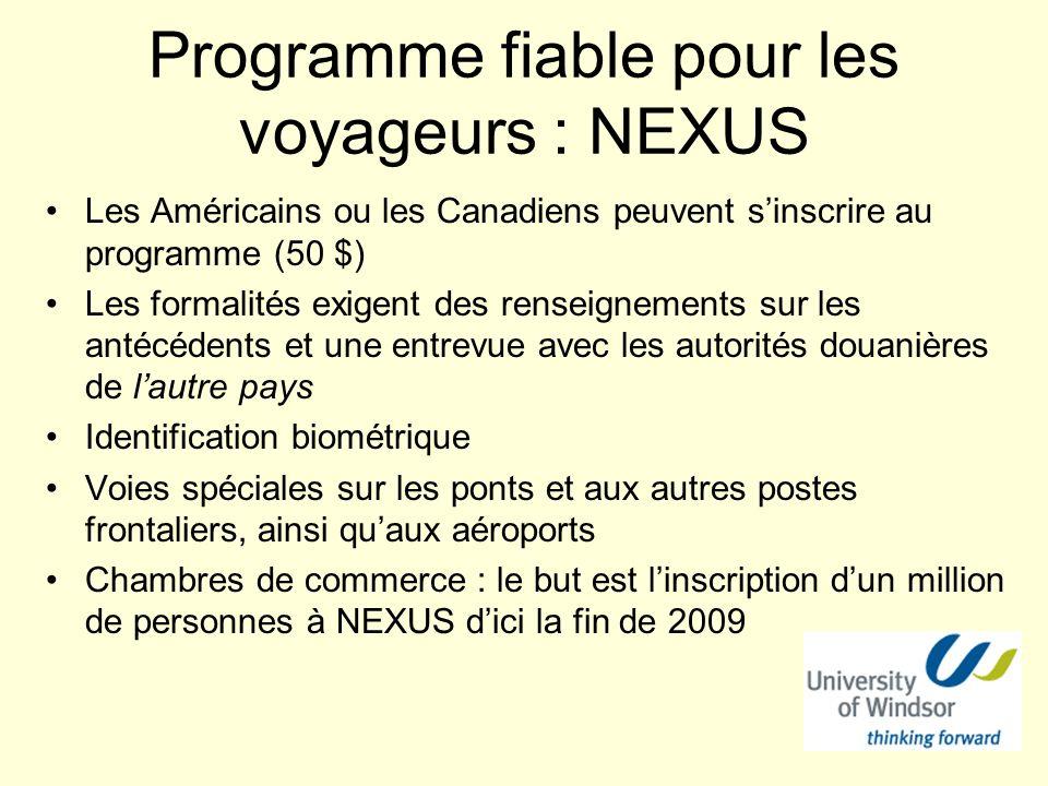 Programme fiable pour les voyageurs : NEXUS Les Américains ou les Canadiens peuvent sinscrire au programme (50 $) Les formalités exigent des renseigne