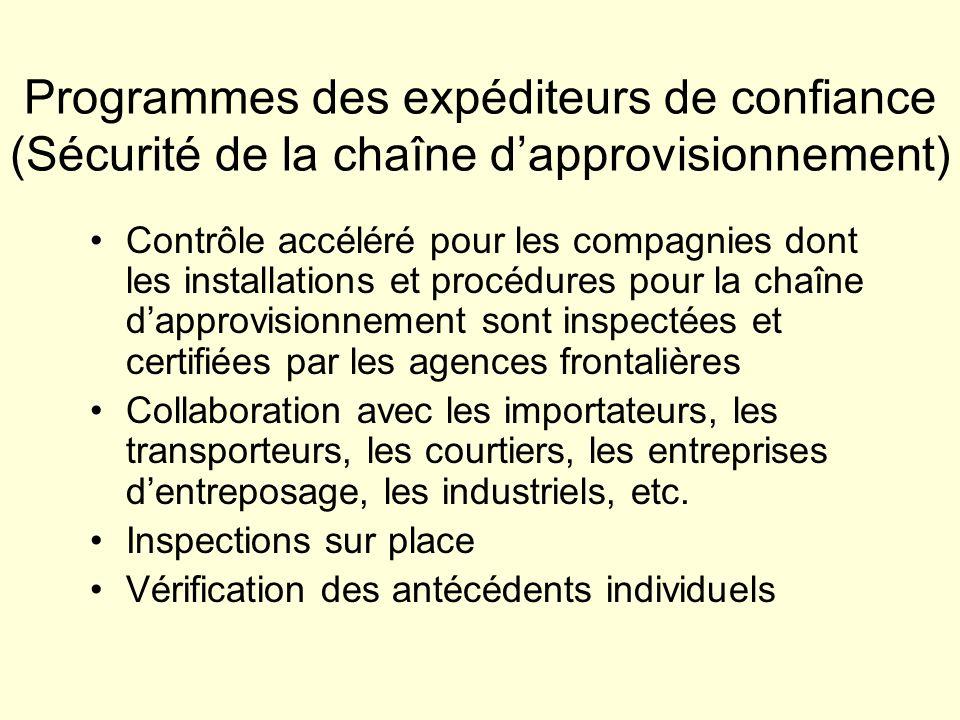 Programmes des expéditeurs de confiance (Sécurité de la chaîne dapprovisionnement) Contrôle accéléré pour les compagnies dont les installations et pro