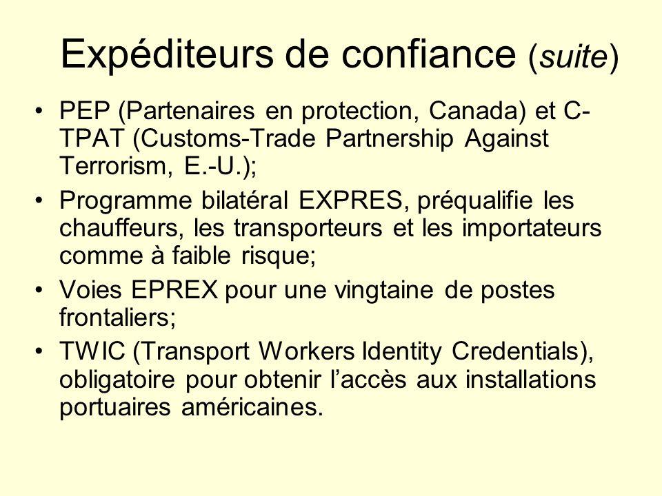 Expéditeurs de confiance (suite) PEP (Partenaires en protection, Canada) et C- TPAT (Customs-Trade Partnership Against Terrorism, E.-U.); Programme bi