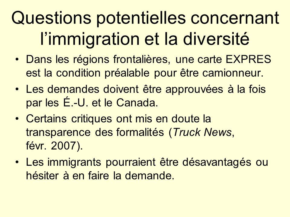 Questions potentielles concernant limmigration et la diversité Dans les régions frontalières, une carte EXPRES est la condition préalable pour être camionneur.