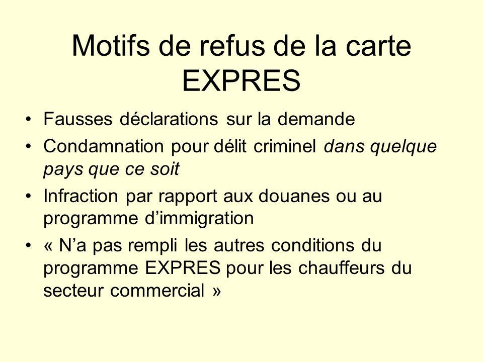 Motifs de refus de la carte EXPRES Fausses déclarations sur la demande Condamnation pour délit criminel dans quelque pays que ce soit Infraction par r