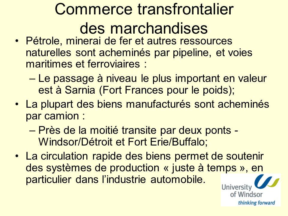 Commerce transfrontalier des marchandises Pétrole, minerai de fer et autres ressources naturelles sont acheminés par pipeline, et voies maritimes et f