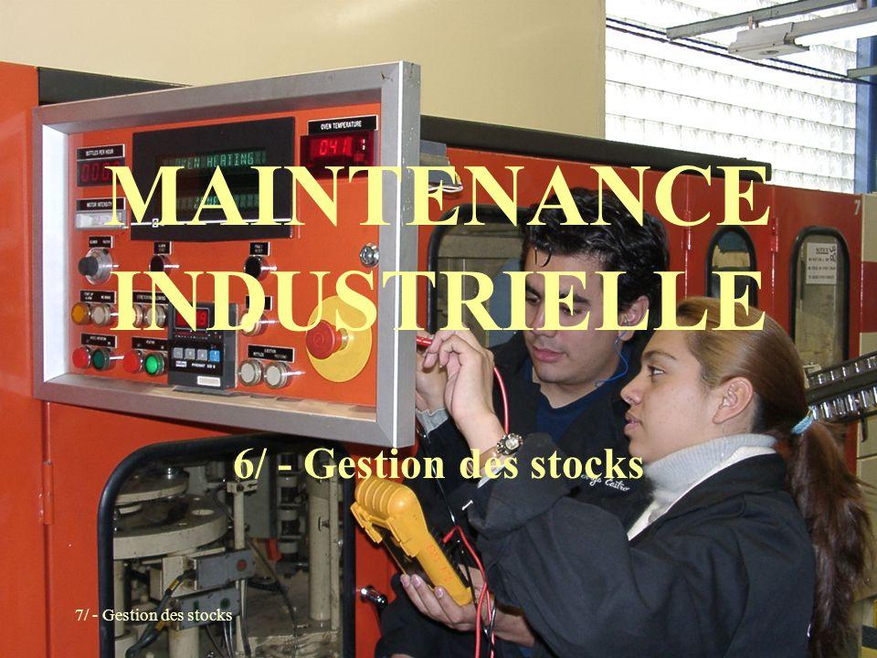 7/ - Gestion des stocks MAINTENANCE INDUSTRIELLE 6/ - Gestion des stocks