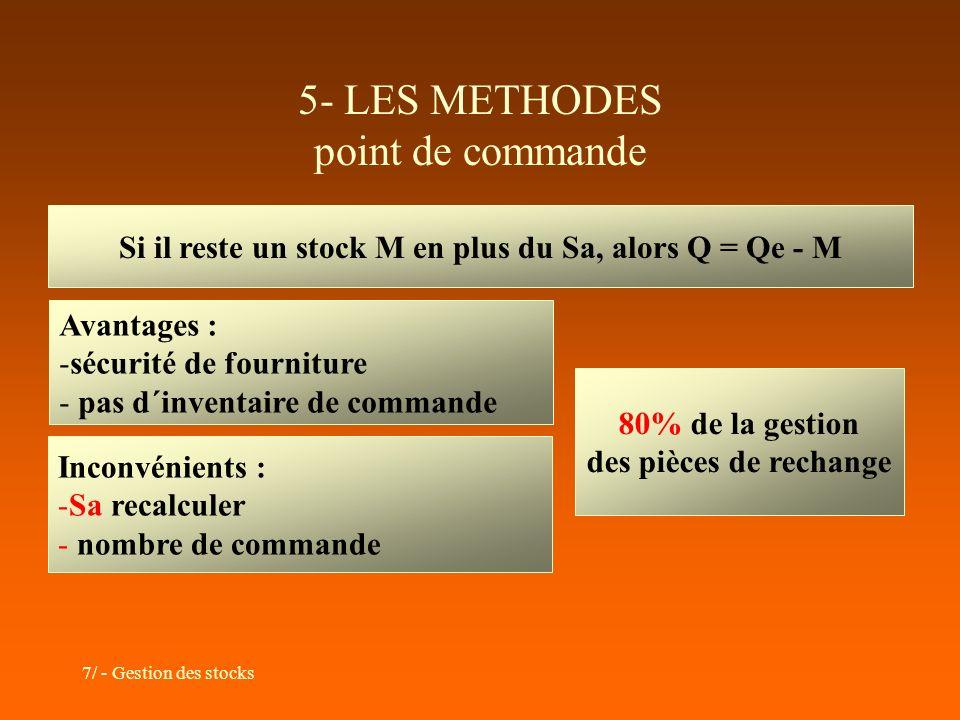 7/ - Gestion des stocks 5- LES METHODES point de commande Si il reste un stock M en plus du Sa, alors Q = Qe - M Avantages : -sécurité de fourniture -