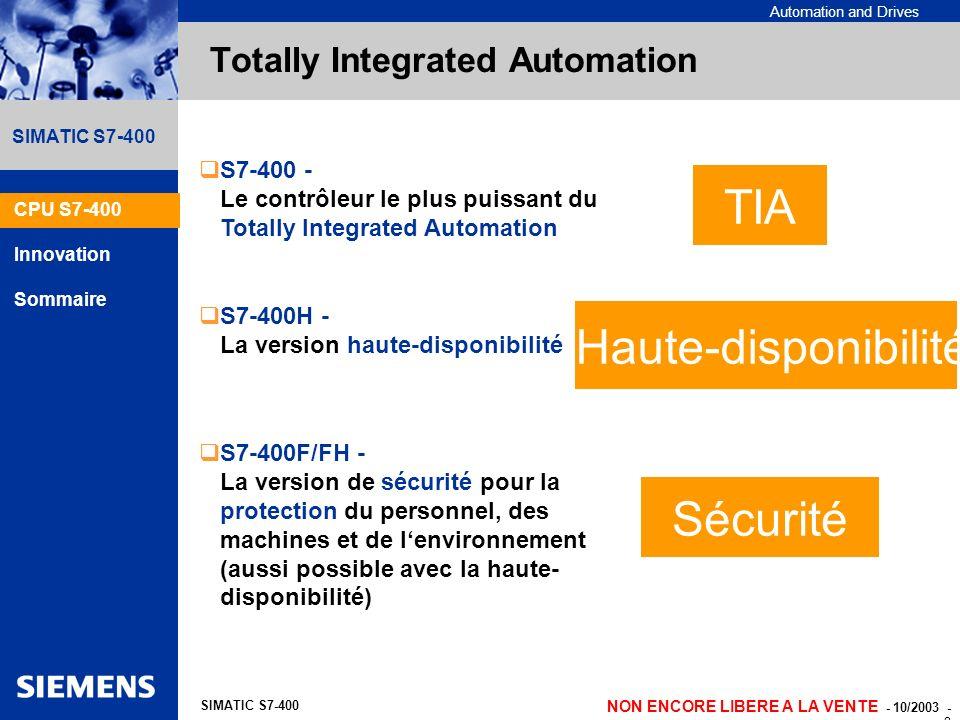 Automation and Drives NON ENCORE LIBERE A LA VENTE - 10/2003 - 2 SIMATIC S7-400 Totally Integrated Automation S7-400 - Le contrôleur le plus puissant