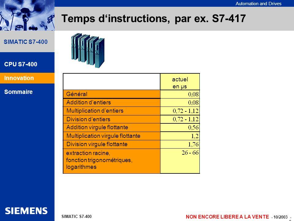 Automation and Drives NON ENCORE LIBERE A LA VENTE - 10/2003 - 8 SIMATIC S7-400 Temps dinstructions, par ex. S7-417 Général expected factor NEW micro