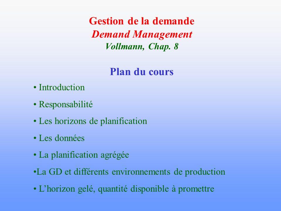Introduction Gestion de la demande : Processus de gestion responsable de la collecte, de la coordination et de la diffusion des informations sur toutes les sources de demande.