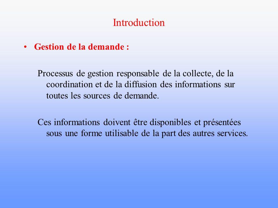 Introduction Gestion de la demande : Processus de gestion responsable de la collecte, de la coordination et de la diffusion des informations sur toute