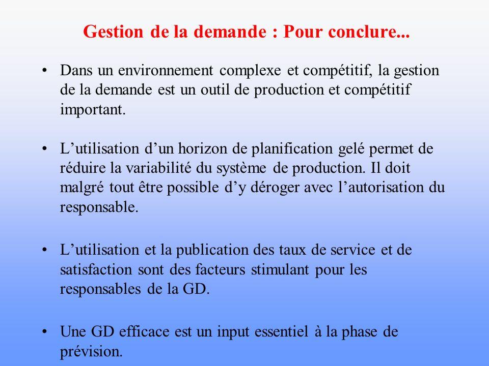 Gestion de la demande : Pour conclure... Dans un environnement complexe et compétitif, la gestion de la demande est un outil de production et compétit