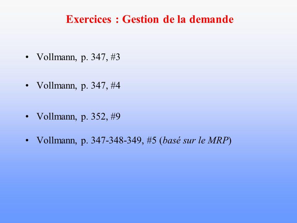Exercices : Gestion de la demande Vollmann, p. 347, #3 Vollmann, p. 347, #4 Vollmann, p. 352, #9 Vollmann, p. 347-348-349, #5 (basé sur le MRP)