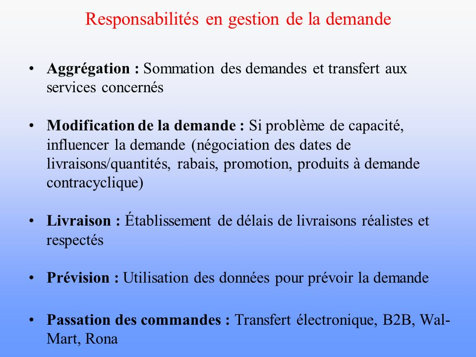 Responsabilités en gestion de la demande Aggrégation : Sommation des demandes et transfert aux services concernés Modification de la demande : Si prob