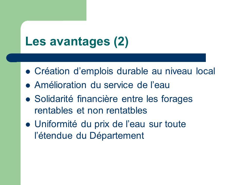 Les avantages (2) Création demplois durable au niveau local Amélioration du service de leau Solidarité financière entre les forages rentables et non r