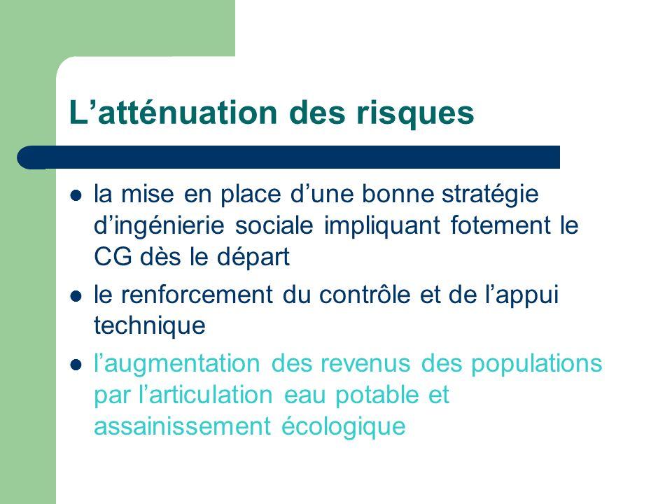 Latténuation des risques la mise en place dune bonne stratégie dingénierie sociale impliquant fotement le CG dès le départ le renforcement du contrôle