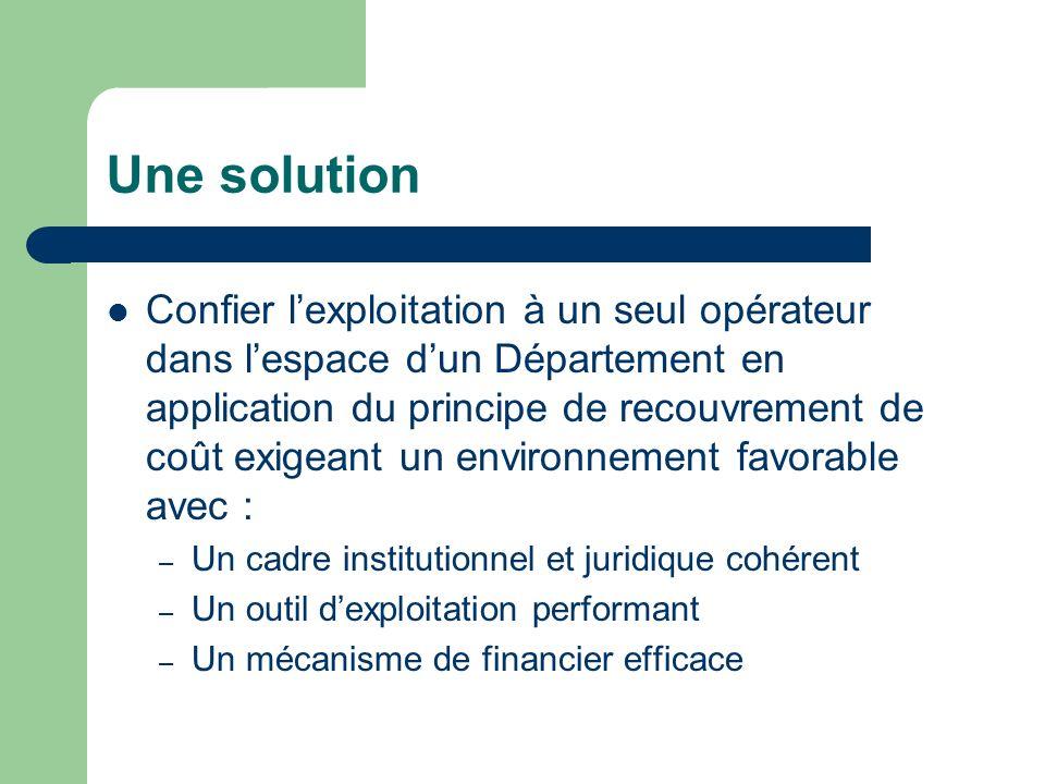 Une solution Confier lexploitation à un seul opérateur dans lespace dun Département en application du principe de recouvrement de coût exigeant un env