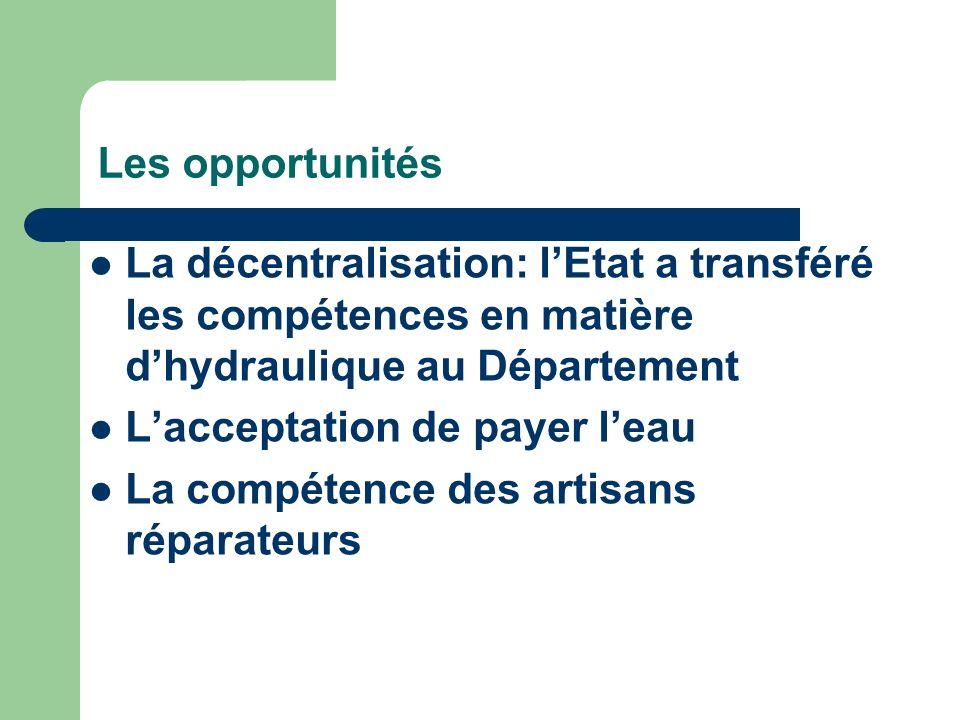 Les opportunités La décentralisation: lEtat a transféré les compétences en matière dhydraulique au Département Lacceptation de payer leau La compétenc