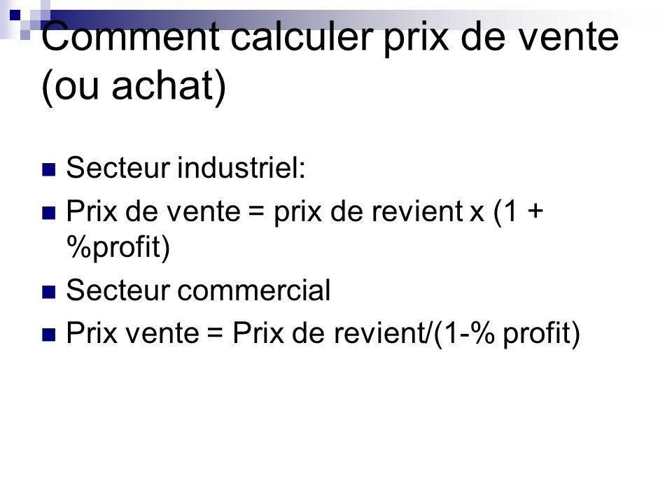 Comment calculer prix de vente (ou achat) Secteur industriel: Prix de vente = prix de revient x (1 + %profit) Secteur commercial Prix vente = Prix de