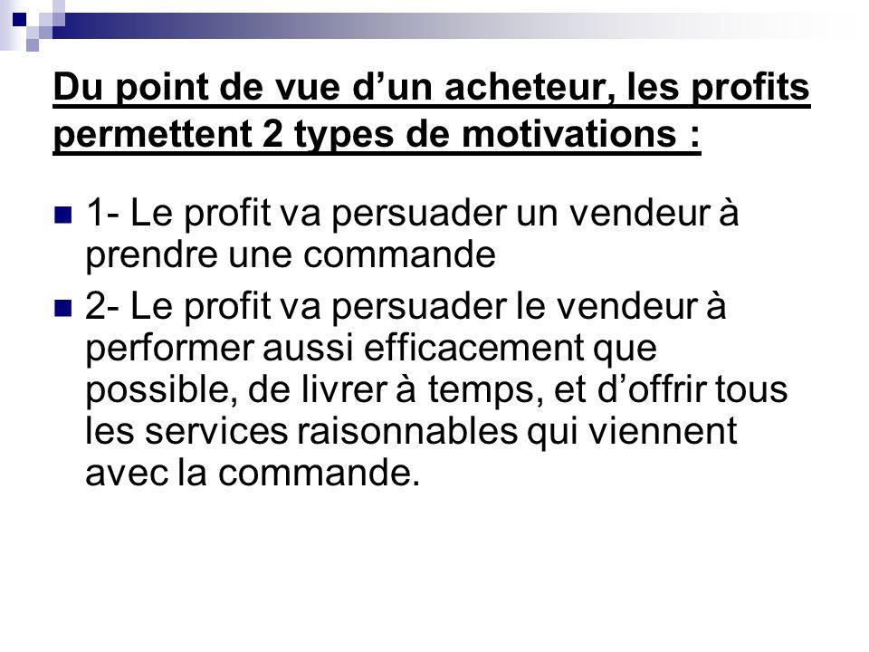 Du point de vue dun acheteur, les profits permettent 2 types de motivations : 1- Le profit va persuader un vendeur à prendre une commande 2- Le profit