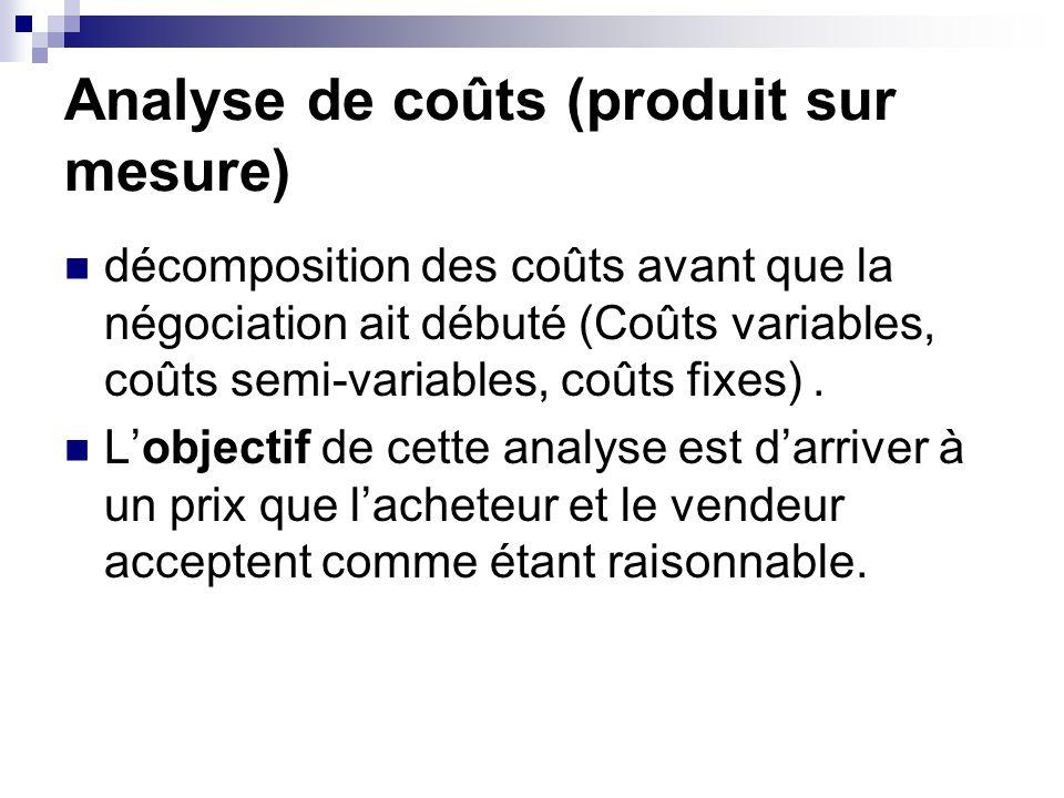 Analyse de coûts (produit sur mesure) décomposition des coûts avant que la négociation ait débuté (Coûts variables, coûts semi-variables, coûts fixes)