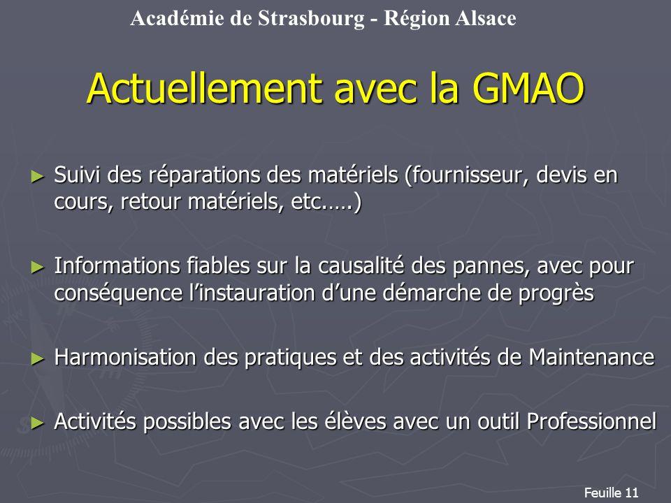 Académie de Strasbourg - Région Alsace Feuille 11 Actuellement avec la GMAO Suivi des réparations des matériels (fournisseur, devis en cours, retour m