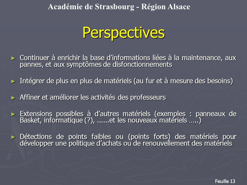 Académie de Strasbourg - Région Alsace Feuille 13 Continuer à enrichir la base dinformations liées à la maintenance, aux pannes, et aux symptômes de d