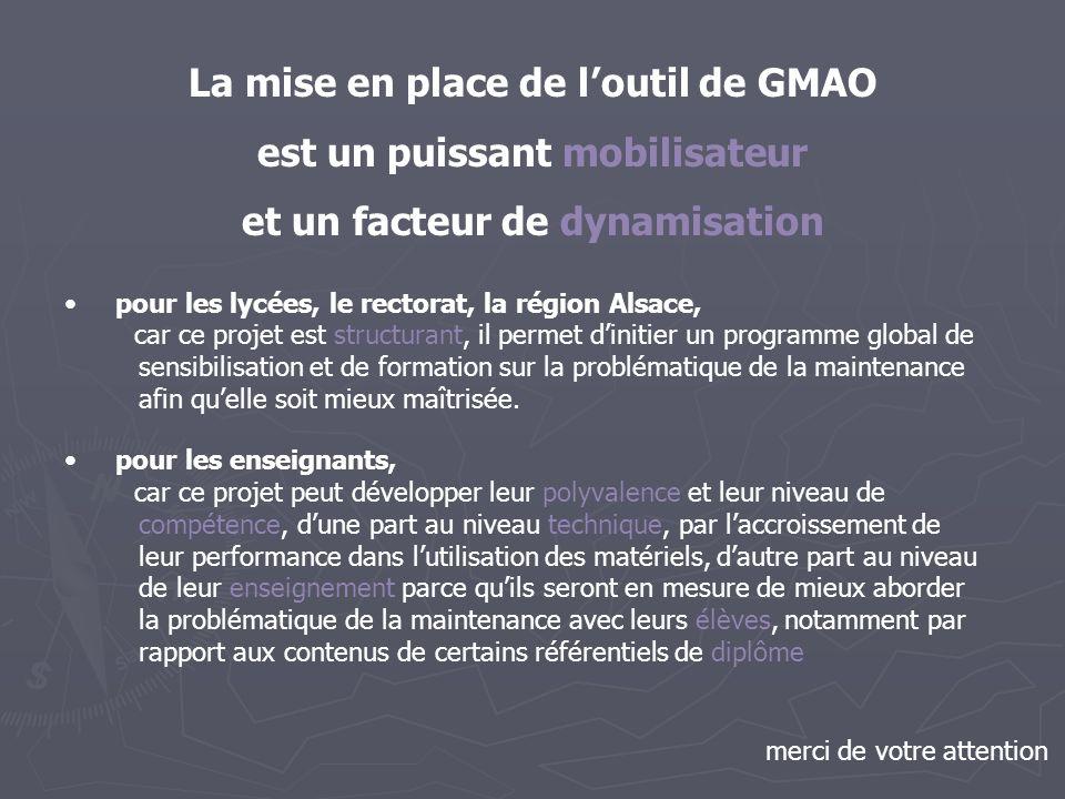 La mise en place de loutil de GMAO est un puissant mobilisateur et un facteur de dynamisation pour les lycées, le rectorat, la région Alsace, car ce p
