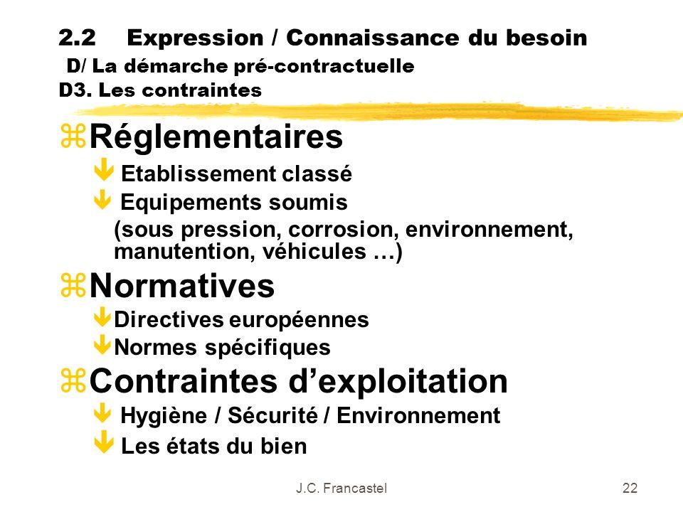 J.C. Francastel22 2.2Expression / Connaissance du besoin D/ La démarche pré-contractuelle D3. Les contraintes zRéglementaires ê Etablissement classé ê