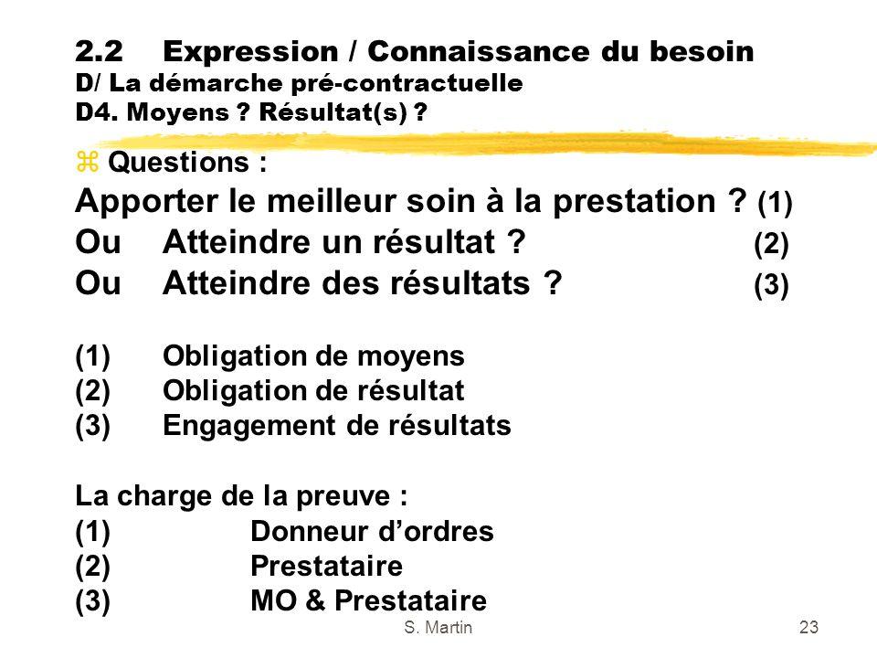 S. Martin23 zQuestions : Apporter le meilleur soin à la prestation ? (1) OuAtteindre un résultat ? (2) Ou Atteindre des résultats ? (3) (1) Obligation