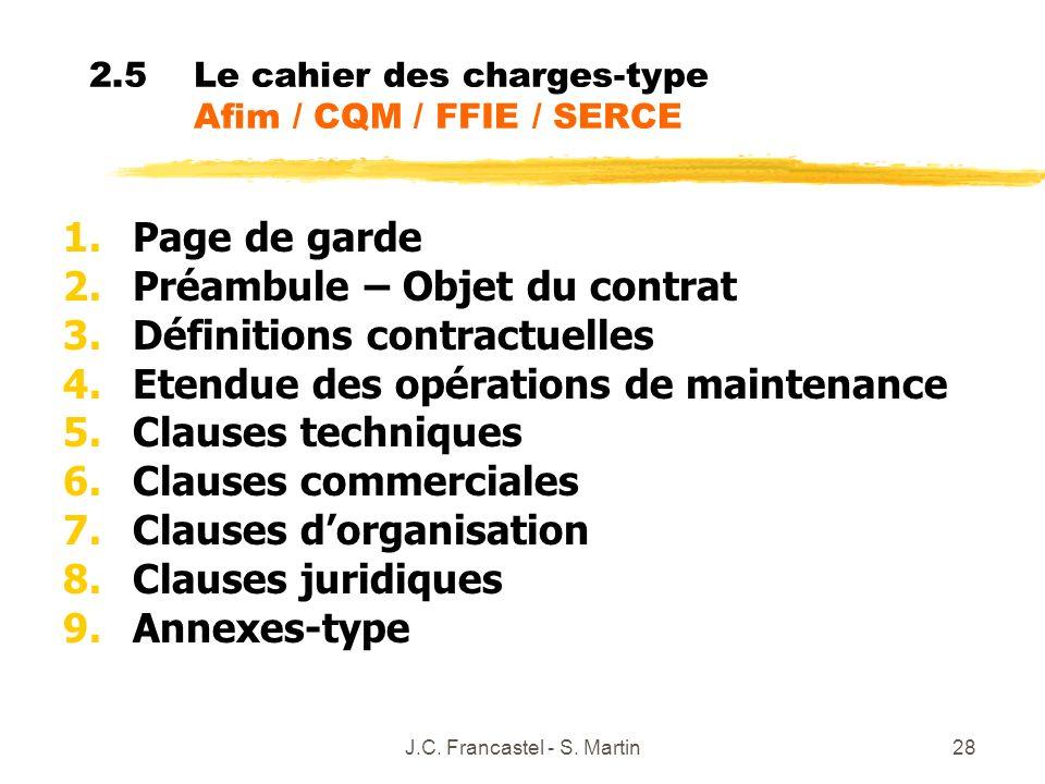 J.C. Francastel - S. Martin28 2.5Le cahier des charges-type Afim / CQM / FFIE / SERCE 1.Page de garde 2.Préambule – Objet du contrat 3.Définitions con