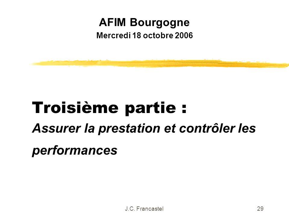 J.C. Francastel29 Troisième partie : Assurer la prestation et contrôler les performances AFIM Bourgogne Mercredi 18 octobre 2006