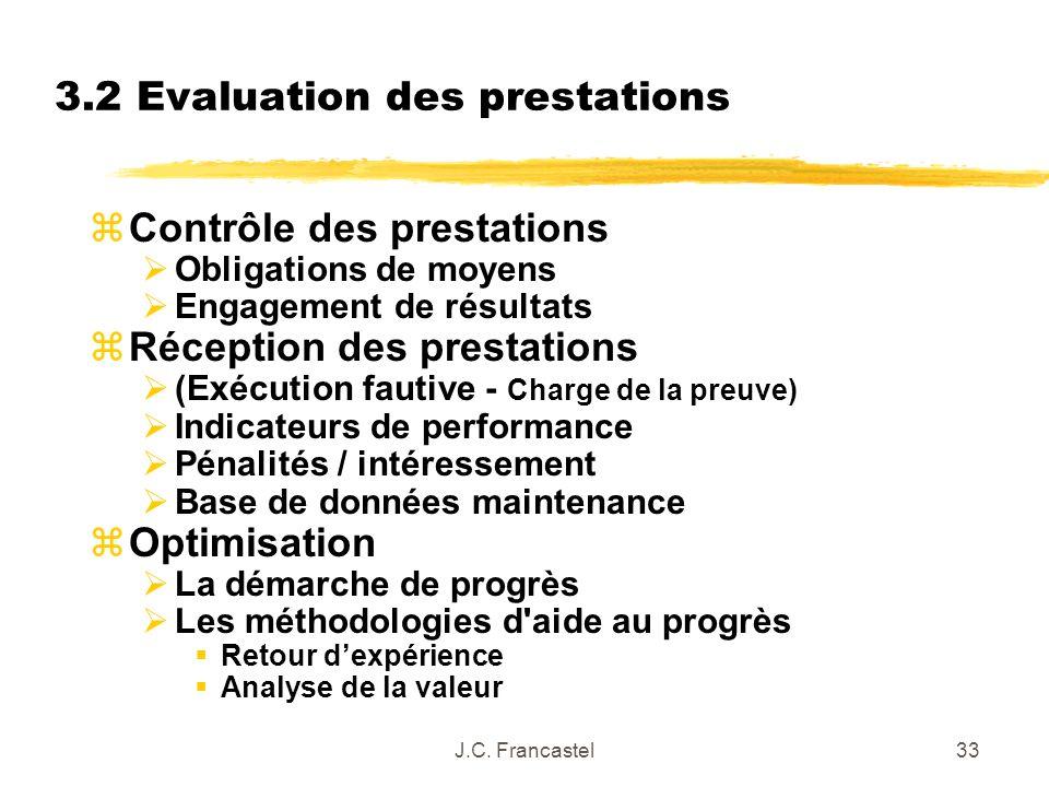 J.C. Francastel33 3.2 Evaluation des prestations zContrôle des prestations Obligations de moyens Engagement de résultats zRéception des prestations (E