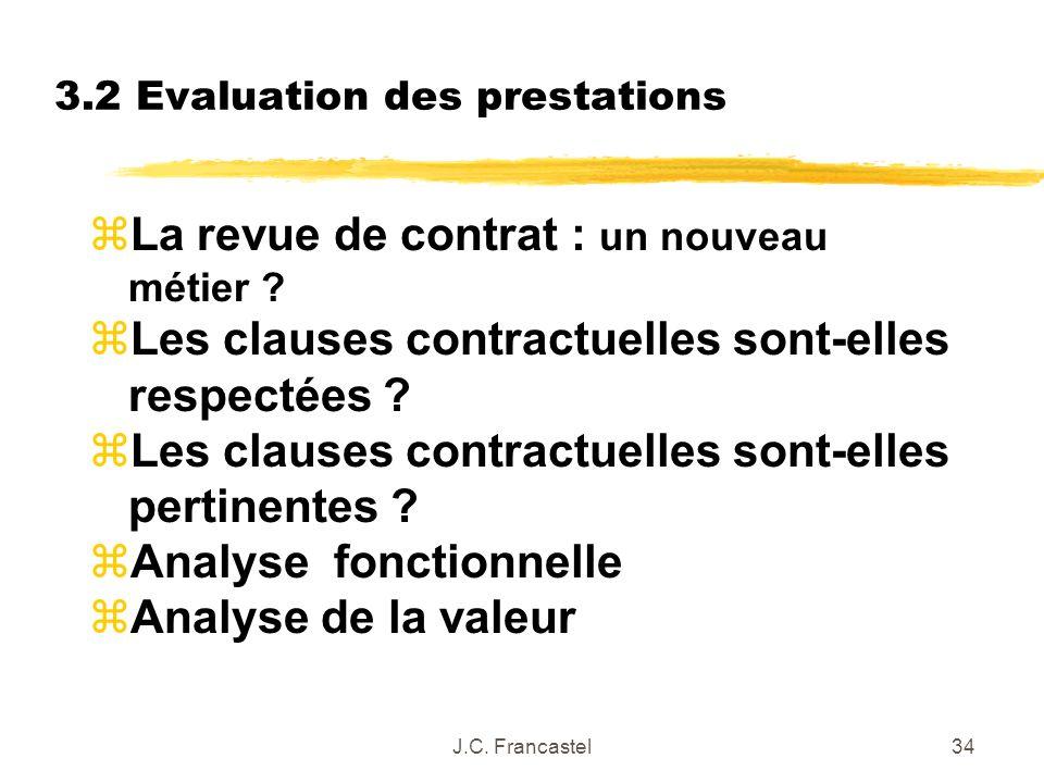 J.C. Francastel34 3.2 Evaluation des prestations z La revue de contrat : un nouveau métier ? zLes clauses contractuelles sont-elles respectées ? zLes