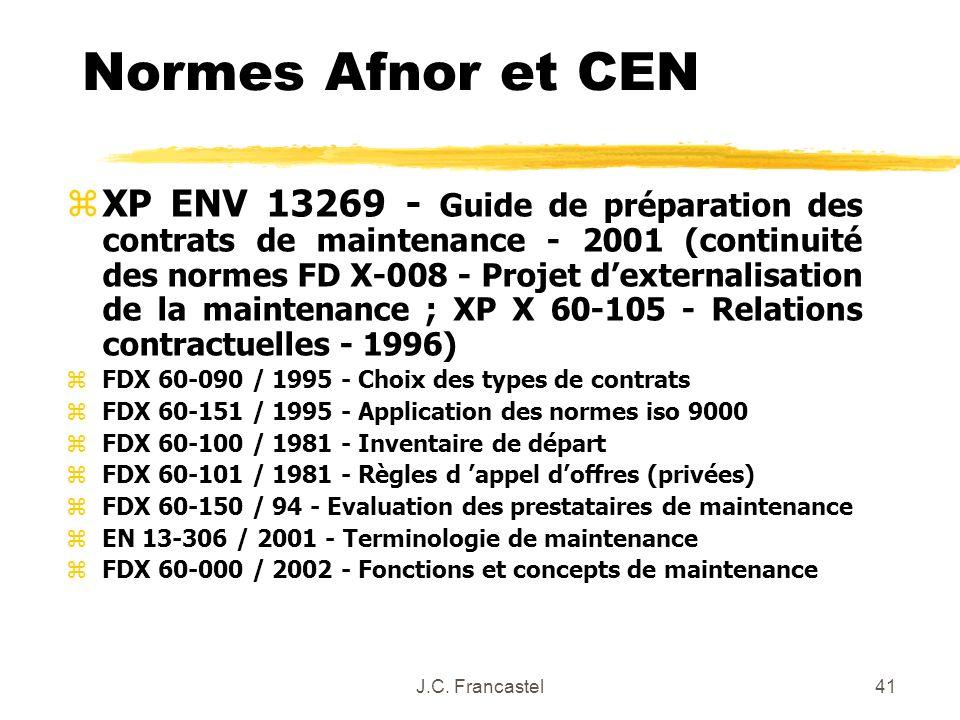 J.C. Francastel41 Normes Afnor et CEN zXP ENV 13269 - Guide de préparation des contrats de maintenance - 2001 (continuité des normes FD X-008 - Projet