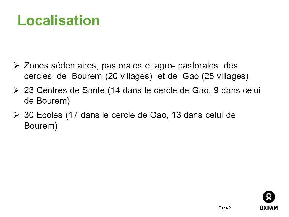 Page 2 Localisation Zones sédentaires, pastorales et agro- pastorales des cercles de Bourem (20 villages) et de Gao (25 villages) 23 Centres de Sante (14 dans le cercle de Gao, 9 dans celui de Bourem) 30 Ecoles (17 dans le cercle de Gao, 13 dans celui de Bourem)