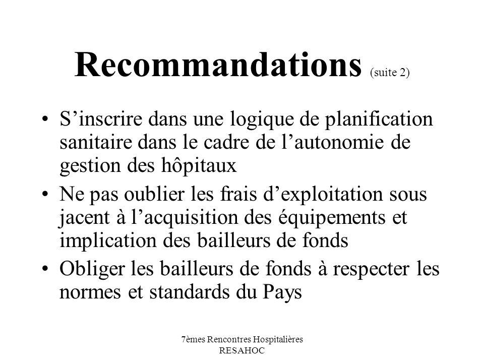7èmes Rencontres Hospitalières RESAHOC Recommandations (suite 2) Sinscrire dans une logique de planification sanitaire dans le cadre de lautonomie de