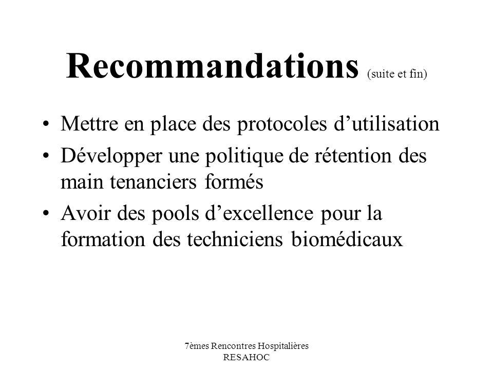 7èmes Rencontres Hospitalières RESAHOC Recommandations (suite et fin) Mettre en place des protocoles dutilisation Développer une politique de rétentio
