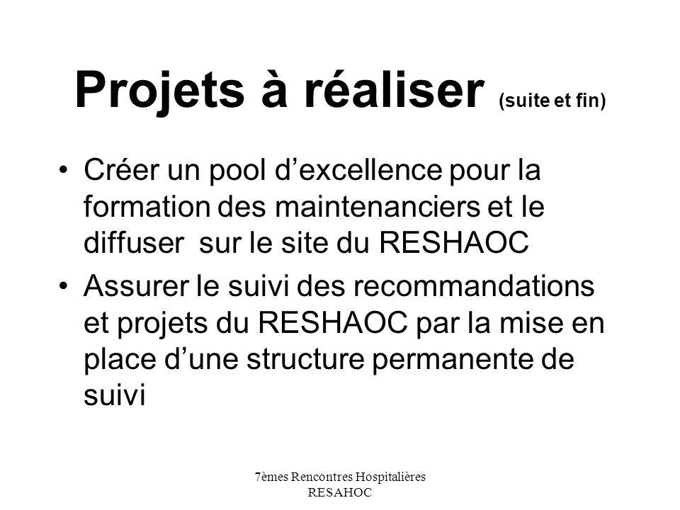7èmes Rencontres Hospitalières RESAHOC Projets à réaliser (suite et fin) Créer un pool dexcellence pour la formation des maintenanciers et le diffuser