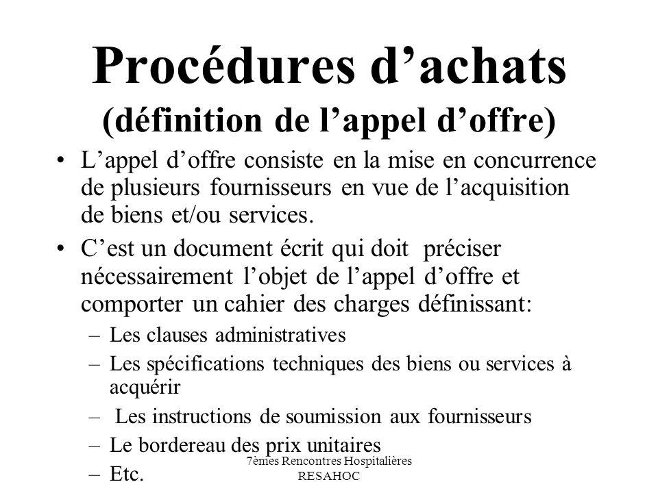 7èmes Rencontres Hospitalières RESAHOC Procédures dachats (définition de lappel doffre) Lappel doffre consiste en la mise en concurrence de plusieurs