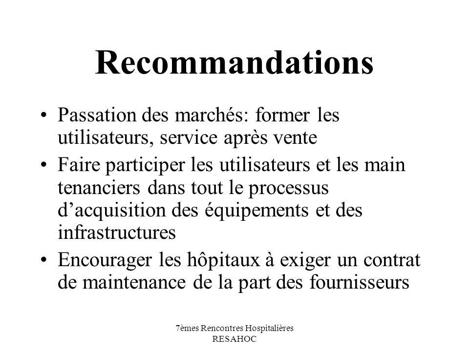 7èmes Rencontres Hospitalières RESAHOC Recommandations Passation des marchés: former les utilisateurs, service après vente Faire participer les utilis