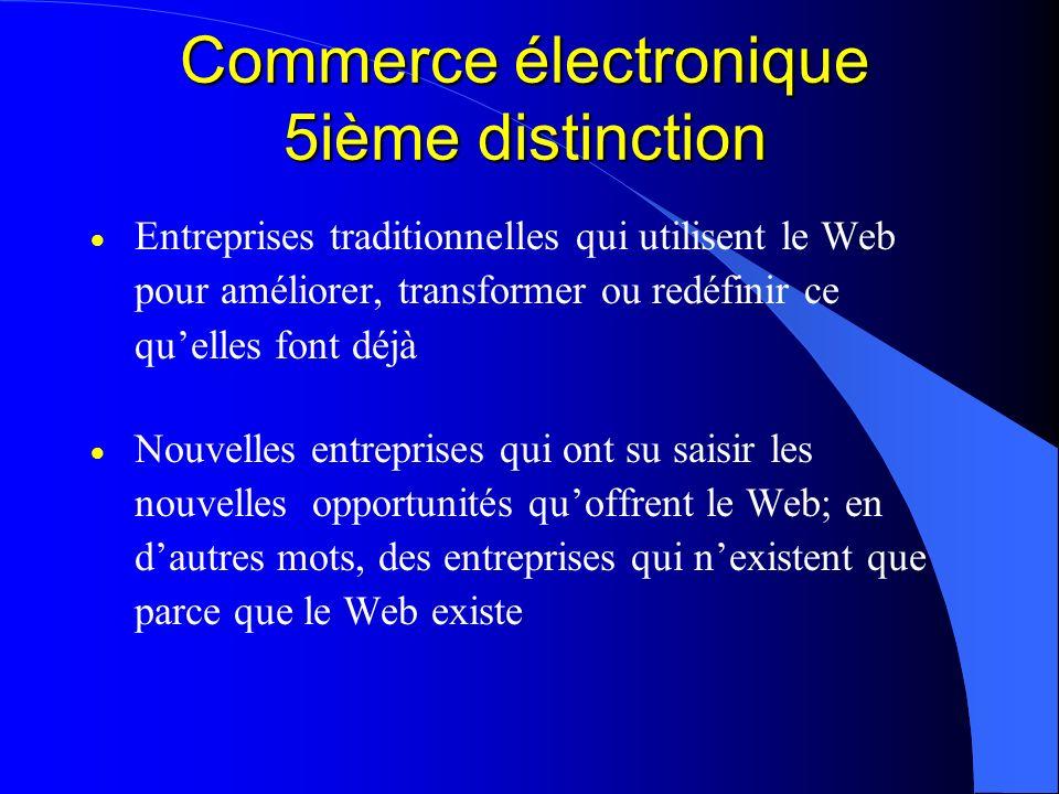 Commerce électronique 5ième distinction Entreprises traditionnelles qui utilisent le Web pour améliorer, transformer ou redéfinir ce quelles font déjà