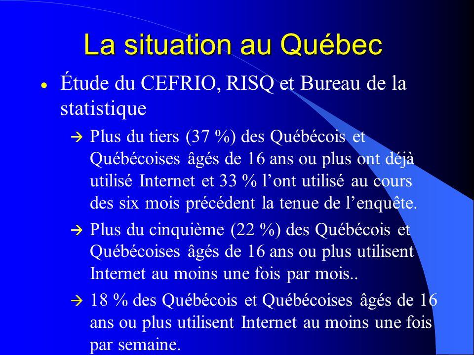 La situation au Québec Étude du CEFRIO, RISQ et Bureau de la statistique Plus du tiers (37 %) des Québécois et Québécoises âgés de 16 ans ou plus ont