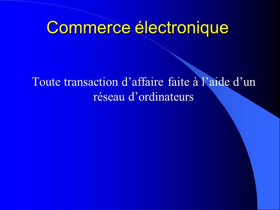 Commerce électronique Toute transaction daffaire faite à laide dun réseau dordinateurs