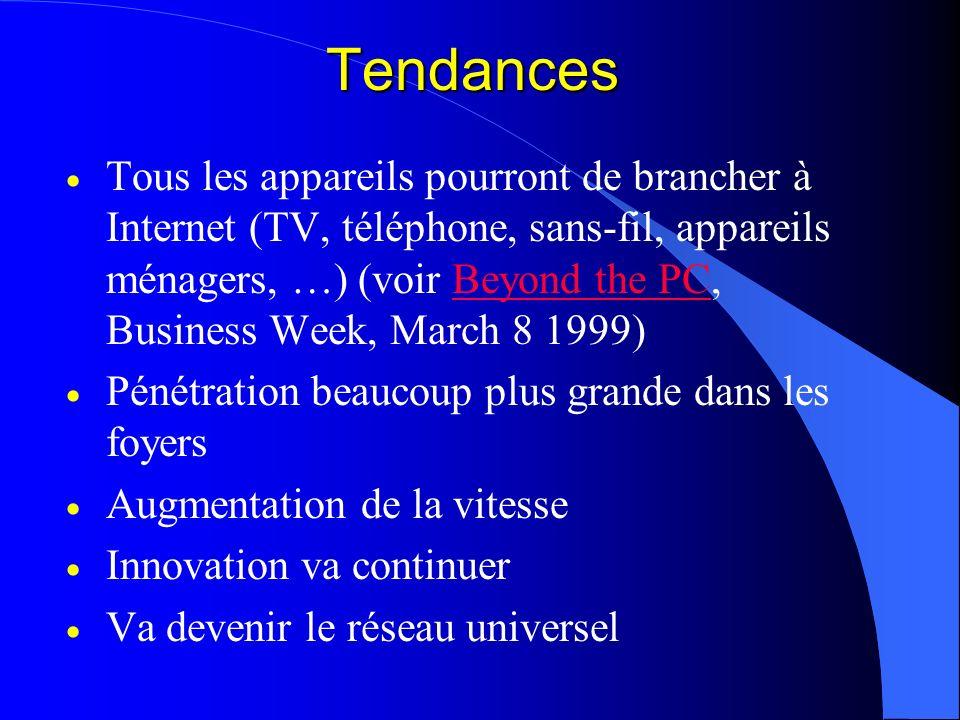 Tendances Tous les appareils pourront de brancher à Internet (TV, téléphone, sans-fil, appareils ménagers, …) (voir Beyond the PC, Business Week, Marc