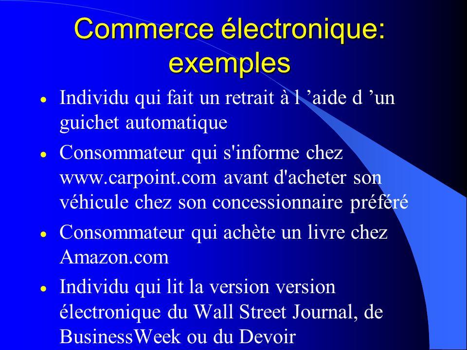 Commerce électronique: exemples Individu qui fait un retrait à l aide d un guichet automatique Consommateur qui s'informe chez www.carpoint.com avant