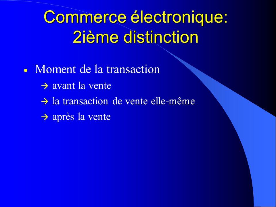 Commerce électronique: 2ième distinction Moment de la transaction avant la vente la transaction de vente elle-même après la vente