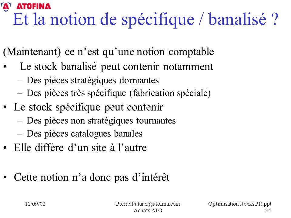 Optimisation stocks PR.ppt 34 11/09/02Pierre.Paturel@atofina.com Achats ATO Et la notion de spécifique / banalisé .