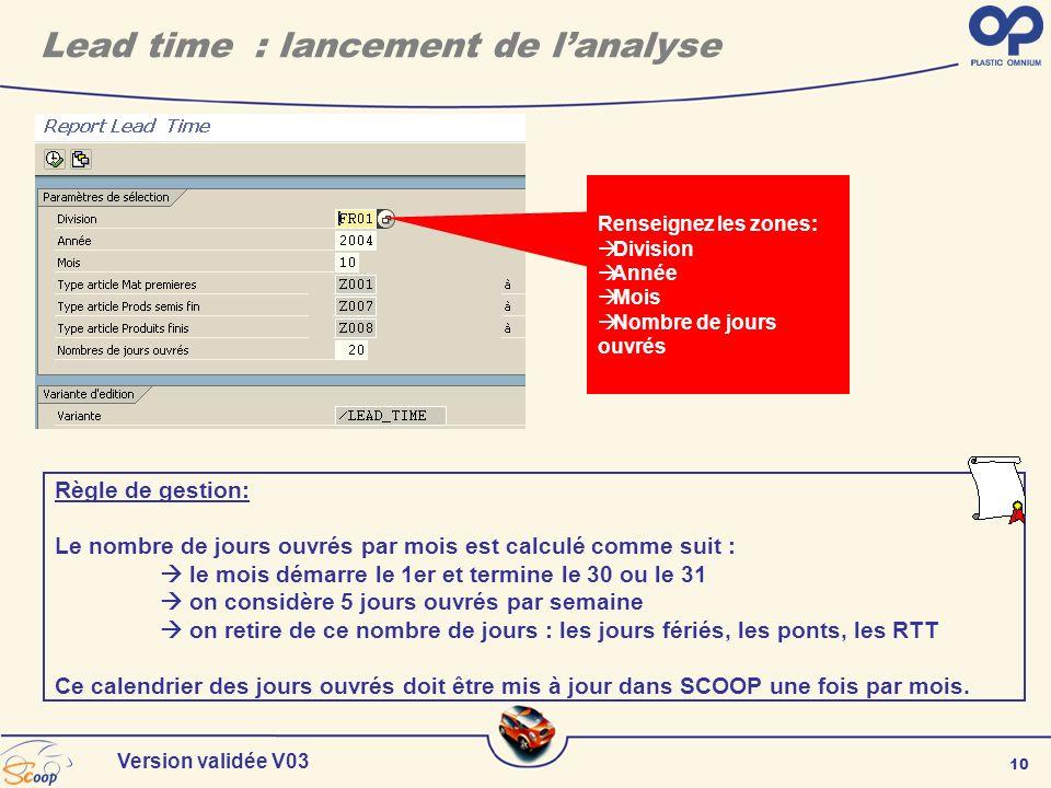 10 Version validée V03 Renseignez les zones: Division Année Mois Nombre de jours ouvrés Règle de gestion: Le nombre de jours ouvrés par mois est calcu