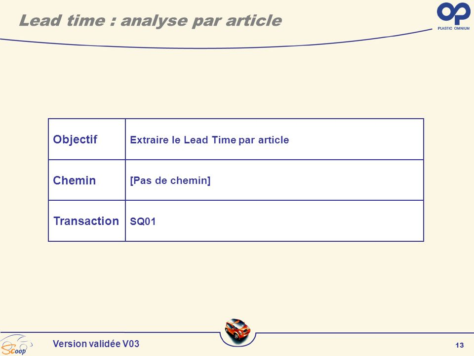 13 Version validée V03 Objectif Chemin Transaction Extraire le Lead Time par article [Pas de chemin] SQ01 Lead time : analyse par article