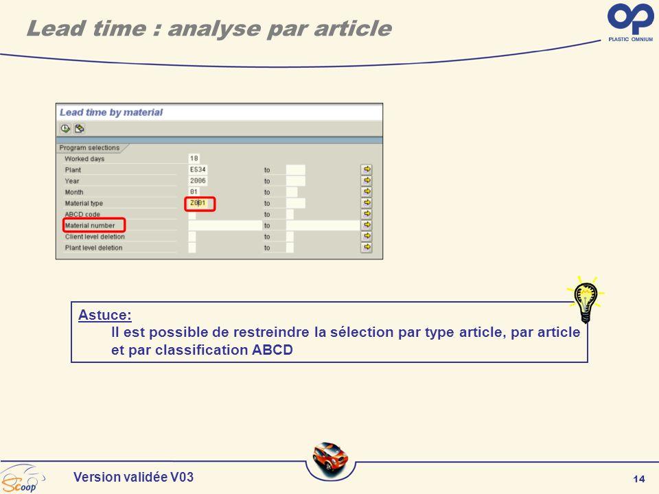 14 Version validée V03 Lead time : analyse par article Astuce: Il est possible de restreindre la sélection par type article, par article et par classi