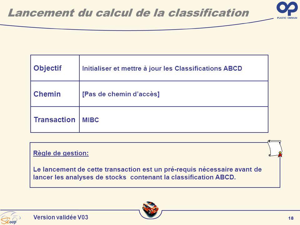18 Version validée V03 Objectif Chemin Transaction Initialiser et mettre à jour les Classifications ABCD [Pas de chemin daccès] MIBC Lancement du calc